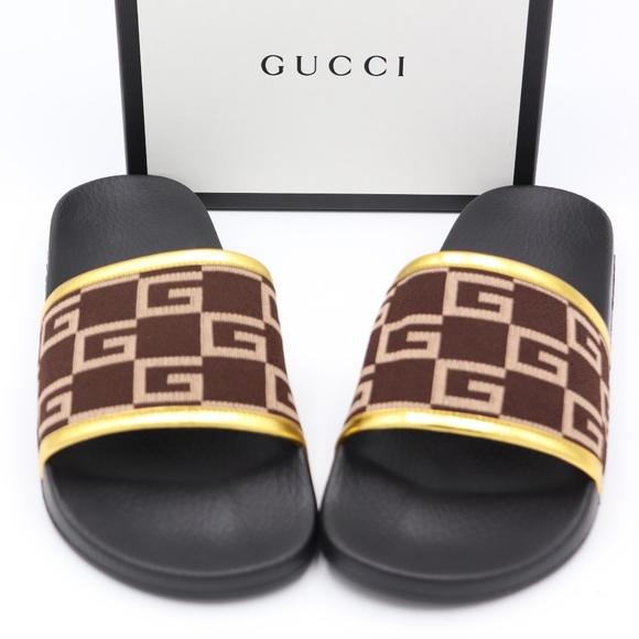 429a948e87d5 GUCCI Pursuit GG Knit Brown Gold Slide Sandals